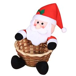 FIN86 Merry Christmas Candy Storage Basket,New Year Gift for Children,Cute Santa Claus Storage B ...