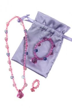 Pastel Princess Dress up Jewelry Set (Necklace, Bracelet, and Ring in a Lavender Satin Bag). Gre ...