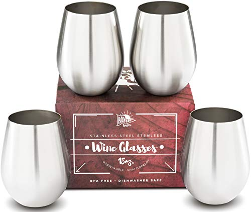 Premium Solid Stainless Steel Wine Glasses PLUS Recipe eBook | Stemless Wine Glass Set of 4, for ...