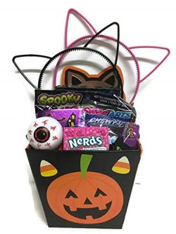 Happy Halloween Kids Gift Basket 7 Inches Prefilled Variety of Candy Stuffers and Toys