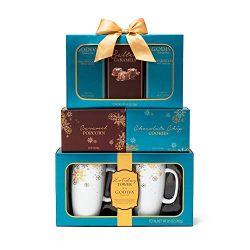 The Godiva Celebration Tower Gift Set | Contains 2 Ceramic Mugs (9 oz.), Godiva Milk & Dark  ...