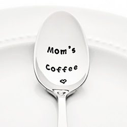 Mom's Coffee with a Heart – Stainless Steel Stamped Spoon | Stamped Silverware | Mot ...