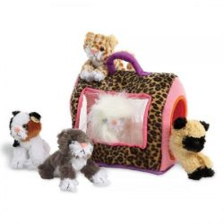 Lillian Vernon Kitty Kennel with 5 Plush Kittens Play Set, 10″ x 6″ x 8″H with ...