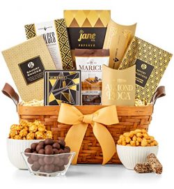GiftTree Gold Ribbon Gourmet Gift Basket   An assortment of Chocolates, Nuts and More   Great Ho ...