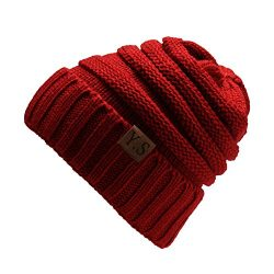 VANGAY Slouchy Cable Beanie Hat Soft Warm Oversized Chunky Knit Thick Cap Men & Women(Burgundy)