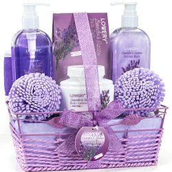Bath and Body Gift Basket For Women – Lavender and Jasmine Home Spa Set with Body Lotions, Bubbl ...