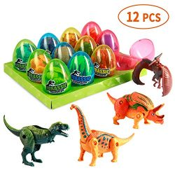 MONILON Dinosaur Toys, 12 Pcs Easter Eggs Basket Stuffers Deformable Dinosaur Desktop Decoration ...