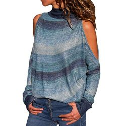 FEITONG Women Fashion Cold Shoulder Blouse Geometric Floral Print Jumper Ladies Top(X-Large,Blue)