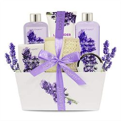 Bath Spa Gift Set, Body & Earth Gift Basket 6-Piece Lavender Scented Spa Basket Kits for Wom ...