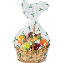 CCV Inc. Pack of 2 Christmas Holly Printed Large Cellophane Gift Basket Bags – 24x25in.