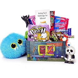 Happy Haunting! Fun Halloween Candy and Toy Gift Basket for College Kids Military Loved Ones  ...