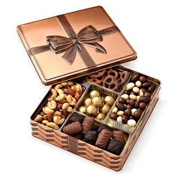 Chocolate and Nuts Gourmet Gift Basket Prime – Christmas Holiday and All Occasions – Keeps ...