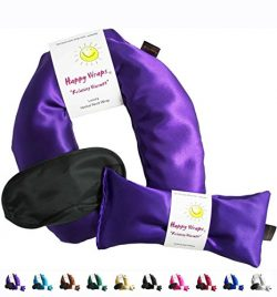 Happy Wraps Herbal Neck Wrap with Lavender Eye Pillow and Sleep Mask – Microwave or Freeze ...