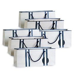 Wine Gift Bags – White with Basket Weave Pattern and Navy Stripes Purse Style Set of 6 by Simply ...