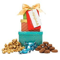 The Mini Cookie, Truffle, and Popcorn Tower from Thoughtfully | Includes Milk Chocolate Truffles ...