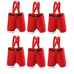 CUSFULL 6Pcs Christmas Candy Bag Wine Holders Santa Pants Gift and Treat Bags with Handle Portab ...