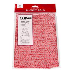 Christmas Gift Basket Bags Clear Plastic Cellophane Set of 12, 22×30 Designed with Candy Ca ...