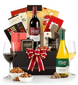 GiftTree Standing Ovation Gourmet Gift Basket with Non-Alcoholic Wine   Included, Two Bottles Fr ...