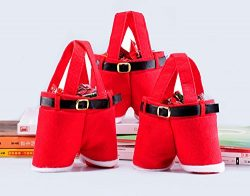 Restonc Cute Christmas Candy Bag Santa Pants Gift and Treat Bags with Handle Portable Child Cand ...