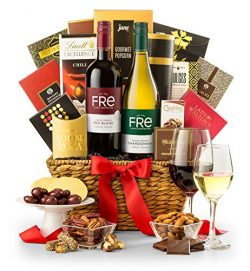 GiftTree Generous Toast Gourmet Non-Alcoholic Wine Gift Basket | FRe Non-Alcoholic Wine | Two Bo ...