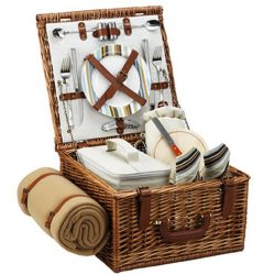 Picnic at Ascot Cheshire English-Style Willow Picnic Basket with Service for 2 and Blanket ̵ ...