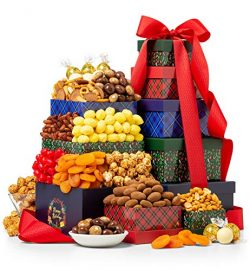 GiftTree Holiday Gathering Sweets and Treats Tower | Packed with Cinnamon Almonds, Turkish Dried ...