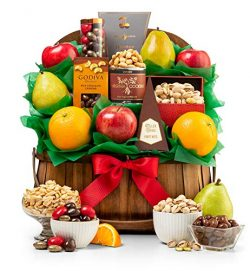 GiftTree Orchard Harvest Nuts and Fresh Fruit Basket | Gift-Grade Pears, Apples and Oranges with ...