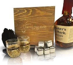 Stainless Steel Whiskey Rocks (Stones) Gift Set with 8 FDA approved reuseable ice cubes