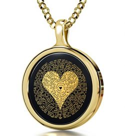 Gold Plated Silver I Love You Necklace Inscribed in 120 Languages in 24k Gold on Round Onyx Pend ...