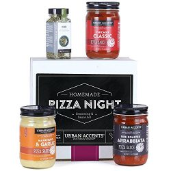 Urban Accents HOMEMADE PIZZA NIGHT, Pizza Sauce and Seasoning Set (Set of 4) – 3 Sauces an ...