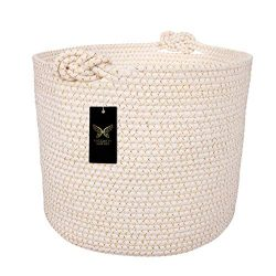 Cotton Rope Basket | Decorative & Large Blanket Basket for Living Room | Ergonomic Toy Stora ...