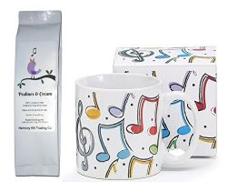 Music Notes Musician Coffee Mug Cup with Singing Bird Pralines and Cream Coffee Gift Set 2 Item  ...