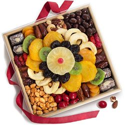 Golden State Fruit Festive Dried Fruit, Nuts & Chocolates Gift Basket Tray