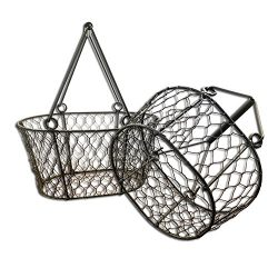 Whole House Worlds The Farmer's Market Chicken Wire Baskets, Set of 2, Iron, Top Carry Han ...