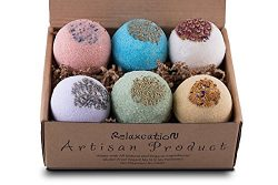 Organic Bath Bombs Gift Set Vegan (3.2 oz) / Bath Bombs For Sensitive Skin – Safe for Kids ...