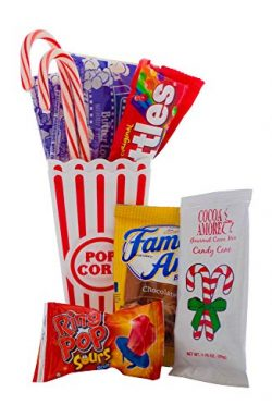 Christmas Movie Night Gift Bundle Care Package With Popcorn, Hot Chocolate, Candy and Candy Cane ...