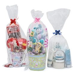 12 Cellophane Gift Bags – 9″ Wide X 20″ inches Tall – Includes 12 Small  ...