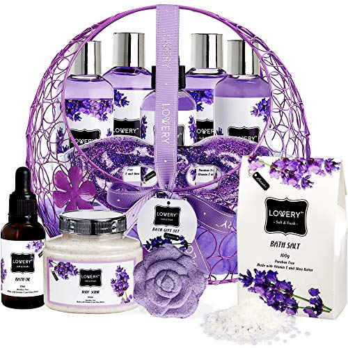 Bath and Body Gift Basket For Women – Lavender and Jasmine Home Spa Set, Including Hot and Cold  ...