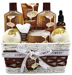 Bath and Body Gift Basket For Women and Men – 9 Piece Set of Vanilla Coconut Home Spa Set, Inclu ...