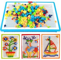 296 pcs Jigsaw Puzzle Mix Colour Mushroom Nails Pegboard Educational Building Blocks Bricks Crea ...