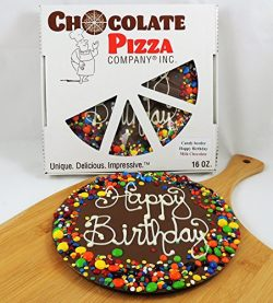 Chocolate Pizza, Happy Birthday, 16 Ounce, 10 Inch, Hand-Decorated, Made in USA