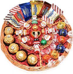 Christmas Gift Basket – Lint, Starbucks, Ghirardelli, Ferrero Rocher and Mozart Chocolate  ...