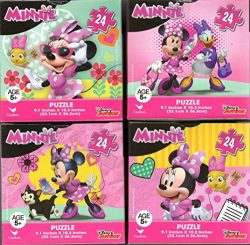 Minnie Mouse Bundle of 4 24 Pieces in Cube Shaped Boxes. Gift set of Puzzles for Girls Ages 5+ 1 ...