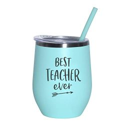 Best Teacher Ever – 12 oz Mint Stainless Steel Vacuum Insulated Wine Tumbler with Lid and  ...
