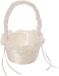 Simplicity Small White Ivory Wedding Flower Girl Basket, 6.8″ W x 5.5″ L x 7.8″ H