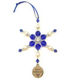 Happy Hanukkah Blue Snowflake Ornament with Swarovski Crystals in Gift Box
