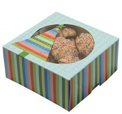 Christmas Cookie Gift Boxes with Window, 6 Inch, Blue with Colorful Stripes and Gold Hot Stamp f ...