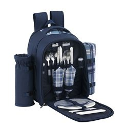 VonShef 2 Person Blue Picnic Backpack Hamper with Cooler Compartment Includes Tableware & Fl ...