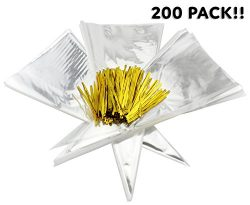 Cone-Shaped Treat Bags (200 Bags + 200 Twist Fastens); Clear Cellophane Goody, Treat & Popco ...