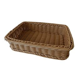 CVHOMEDECO. Rectangular Imitation Rattan Bread Basket Fruit Display Basket Food Serving Basket R ...